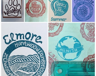 Personalized/Individually Designed Stamps: Hand carved