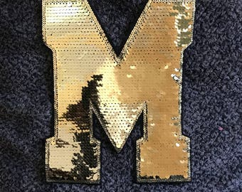 Iron-on letter M sequin patch for clothing