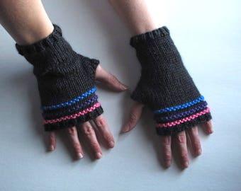 Bi pride striped fingerless gloves, ready to ship