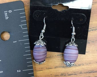 Oval Purple Glass Earrings