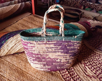 Multicolored straw market bag, handwoven,handmade,traditional design