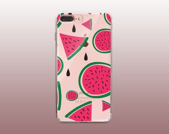 Watermelon Clear TPU Phone Case for iPhone 8- iPhone 8 Plus - iPhone X - iPhone 7 Plus-iPhone 7-iPhone 6-iPhone 6S-Samsung S8