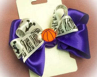 "Purple and White ""Cheer"" basketball Hair Bow"