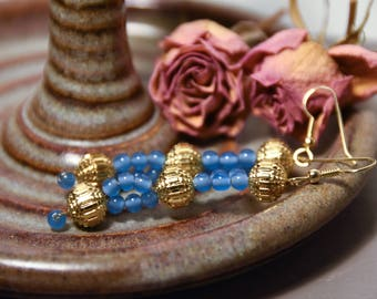 Handmade Earrings With Vintage Blue and Gold Beads