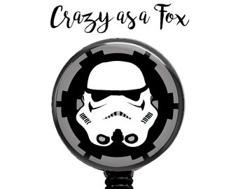 Star Wars Storm Trooper Retractable Badge Holder, Badge Reel, Lanyard, Stethoscope ID Tag, Teacher, Nurse md rn cna Gift