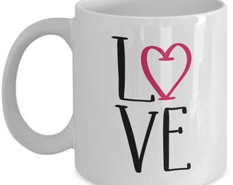 Love Heart - High Quality Cute White & Black Ceramic 11 oz or 15 oz Mug -Love Valentine's Day Mother's Day Birthday Mom Wife Girlfriend Gift