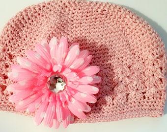 Toddler beanie, crochet beanie, crochet hat (pink)