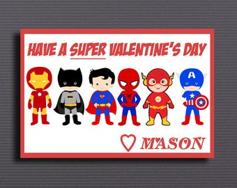Superhero, Superhero Valentine card personalized with your child's name, valentines day, Superhero valentine cards, valentines Day Cards