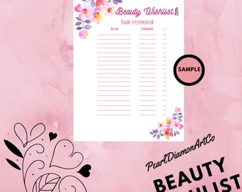 Beauty WishList Printable - Hair Removal - A4 - Digital Download