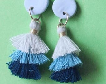 Blue triple tassel