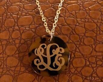 Tortoise Mongrammed Necklace