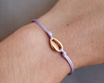 Maritime bracelet with gilded shell-violet