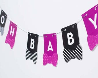 OH BABY Baby Shower Gender Reveal Banner Decoration