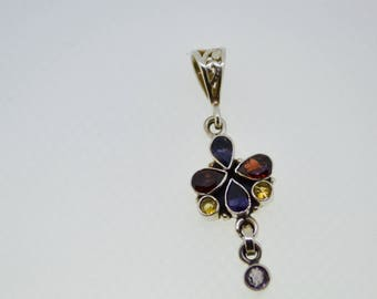 vintage Gemstone flower pendant amethyst garnet iolite citrine rare unique gems healing stones