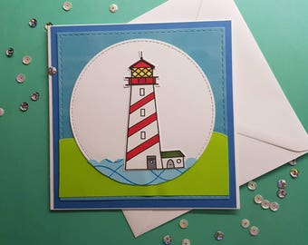 Lighthouse & Sea-side Handmade Card