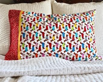 Dachshund pillowcase, wiener dog pillowcase, dog pillowcase, standard pillowcase, handmade pillowcase, pillowcase, dachshund,