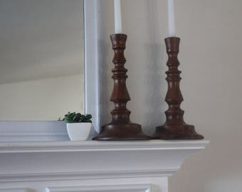 Vintage Hand Carved Wooden Candlesticks