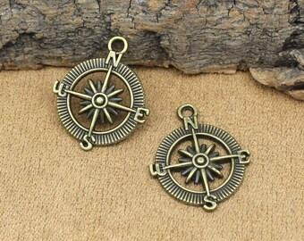 20pcs Antique Bronze Compass Charms Pendant 30x25mm C3162-T