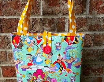 Alice In Wonderland Tote Bag Purse Ladies Teens Size RTS