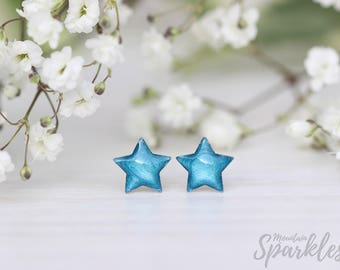 Blue star stud earrings, Simple Stud Earrings Blue, Star Earrings Blue, Tiny Girls Earrings, Dainty earrings Kids,  Girls Jewelry Gift