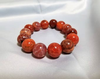 All-natural Fire Agate bracelet - large stones - FREE card and gift box