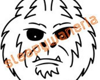 Bigfoot/Yeti/Sasquatch Head Vinyl Sticker