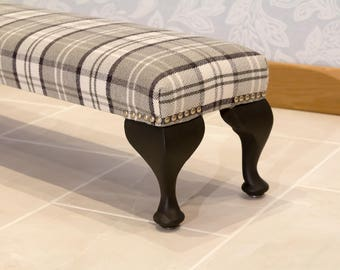 NOW SOLD - Hand made long upholstered foot stool, foot rest.