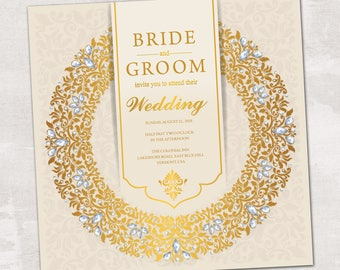 Wedding Invitation, Wedding Invitation with Matching RSVP and Other Information Card,  Contemporary Wedding Invitation, Floral Wedding Inv