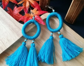 Handcraft Hoop Tribal Ethnic Earrings Statement Long Dangle Drop Gypsy Boho Chic Blue Tassel Earrings
