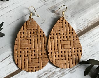 Light Brown Tan Basket Weave Faux Leather Teardrop Earrings