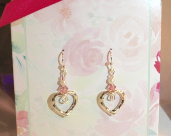 Silver Heart Earrings made with Sterling Siver Hooks, Silver Plate Hearts, Pink Swarovski Crystals & Glass Beads. Gift card and envelope
