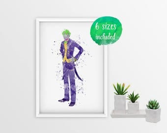 Joker batman, joker print, joker poster, joker wall art, joker watercolor, joker harley quinn, joker villians poster, batman 10586a