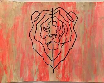 Singleline Lion Print A3 (42xmx29, 7 cm)
