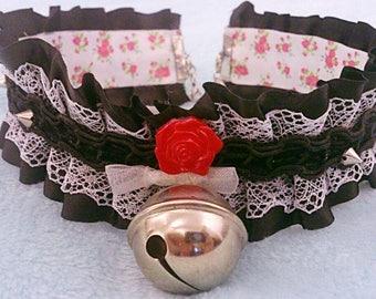 Kitten Play Collar, Pet Play Collar, BDSM Collar, Kitten Play Gear, Black Lace Collar,
