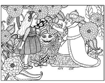 Digital Download to Color, Alice Meets the Queen of Hearts, an original Alice in Wonderland illustration by artist, Sande Jones-Elkins