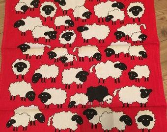 VINTAGE Irish Linen Tea Towel With Sheep Design - Baa Baa By Ulster