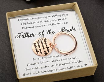 Father of the bride  gift Father wedding gift key chain rose gold keychain father -Today a Bride,tomorrow a Wife,forever your little girl