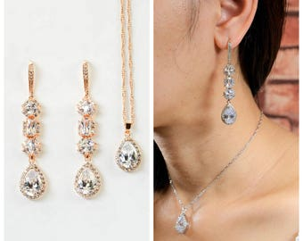 Bridal Jewelry Set Bridal Earrings long crystal bridal earrings for bride Bridesmaid Earrings Bridesmaid Jewelry Gold Bridesmaid Gift Set