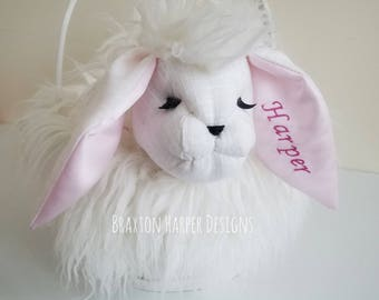 Bunny Easter Basket. Easter. Personalize.One of a kind. Kids.Furry Bunny.Great Gift.