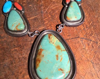 Vintage Native American Old Pawn Silver and Turquoise Necklace