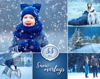 55 snow photo overlays, winter photoshop overlay, winter photography, photography prop, snow digital download, jpg file, christmas overlays