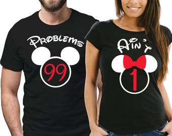 99 Problems, Ain't 1 couple matching black T-shirts set with mouse ears.