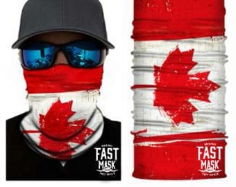 Canada Flag Face Shield - Free Shipping to Canada & USA  - 100% Microfibre | Face Mask | Biker Face Shield | Bandana | Tubular Bandana
