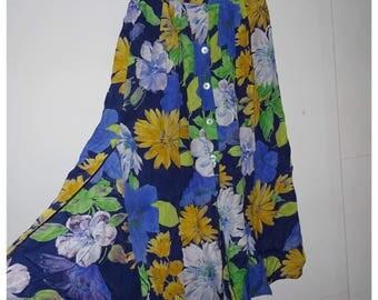 Vintage button down flower skirt    Maat 38