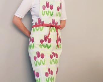 Unisex Apron Hand Printed Textiles Spring Flowers Tulips