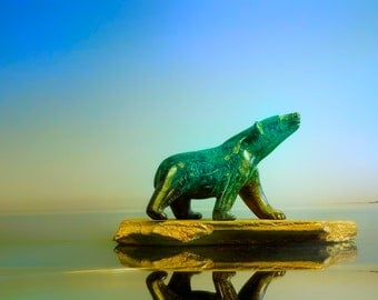 Polar Bear in Jade - Landscape - Printable Wall Art (please contact me for prints)