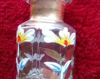 Antique Hand Painted Glass Perfume Bottle With Cut Glass Stopper