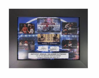 Anthony Joshua v Wladimir Klitschko Signed Preprinted Framed A4 Print