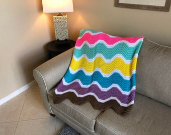 Easter Egg Wavy Ripple Pattern Afghan
