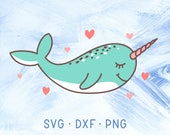 Narwhal SVG Cricut DXF PNG, Narwhal Clipart, Baby Narwhal, Nautical Svg, Sea Creature Svg, Narwhal Svg Cutting Files, Baby Shower Decor